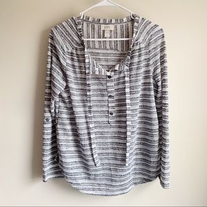 Loft Gray White Open Knit Tie Neck Blouse